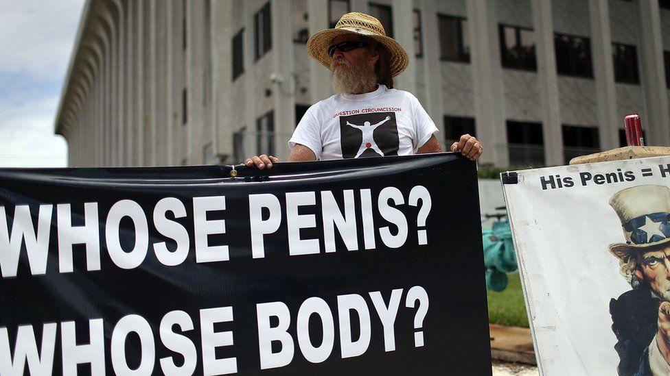 Circumcision protester