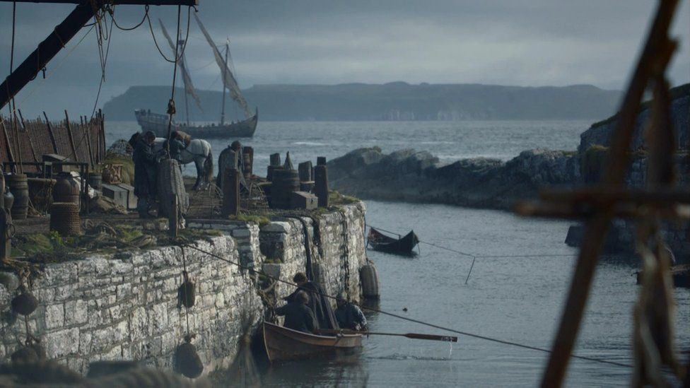 Filming at Ballintoy Harbour on the north coast