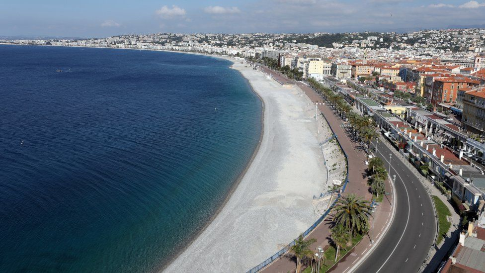 A deserted beach of the Promenade des Anglais in Nice