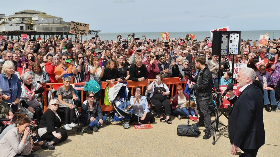 Jeremy Corbyn at the Labour Party rally on the beach at Colwyn Bay