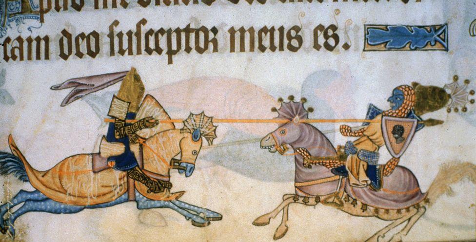 King RICHARD I of England, the Lionheart, 1157-99, fighting Saladin, 1138-93, Ayyubid ruler of Egypt and Syria