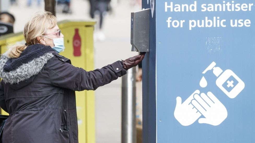 Hand sanitiser in use in Leeds