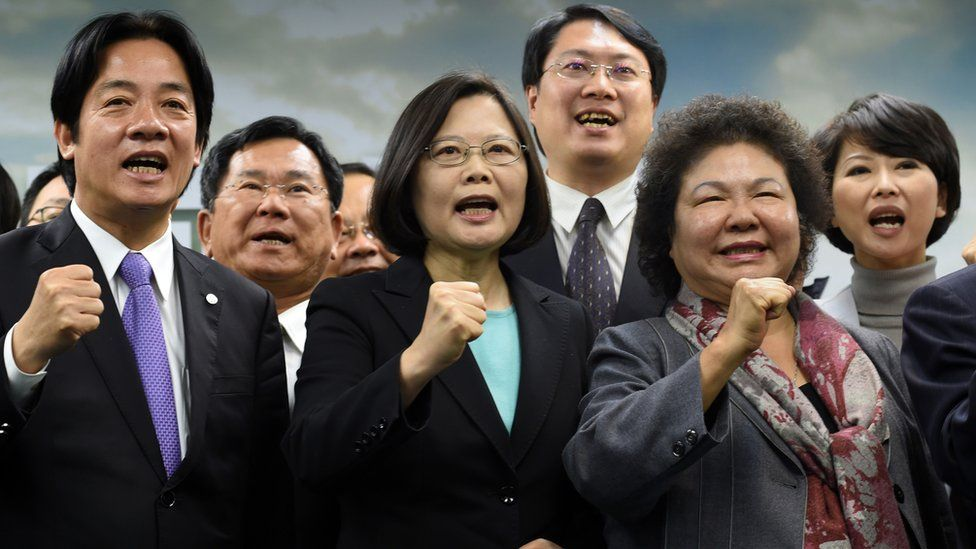 Tsai Ing-wen with party members during a press conference in Taipei.