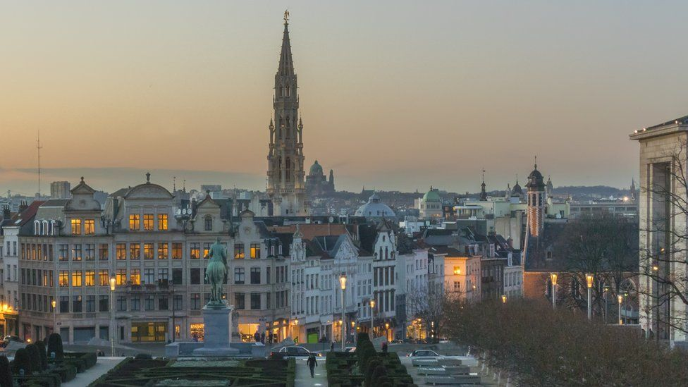 Brussels seen from the Mont des Arts in the evening