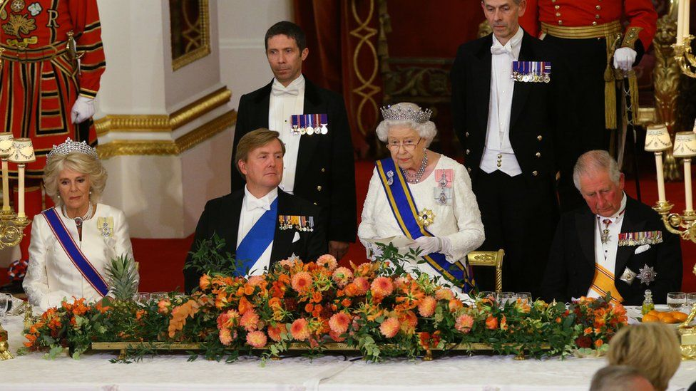 The Queen gives speech at State Banquet for the King of the Netherlands