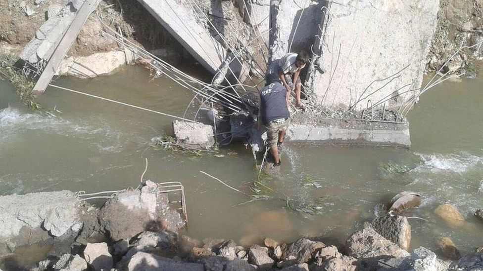 Photo purportedly showing bridge damaged by air strikes in northern Syria