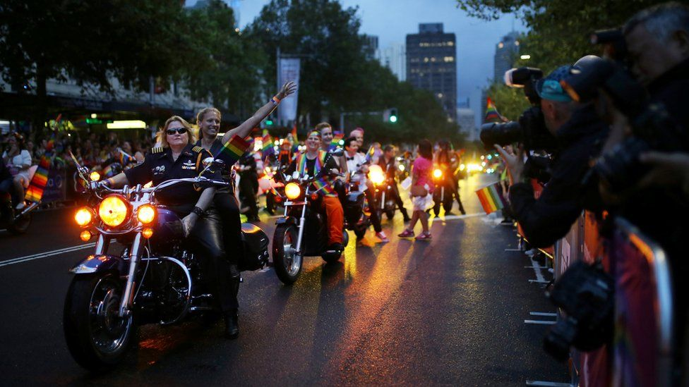 """Motorcyclists from """"Dykes on Bikes"""" lead the annual Sydney Gay and Lesbian Mardi Gras parade in Sydney, Australia March 4, 2017."""