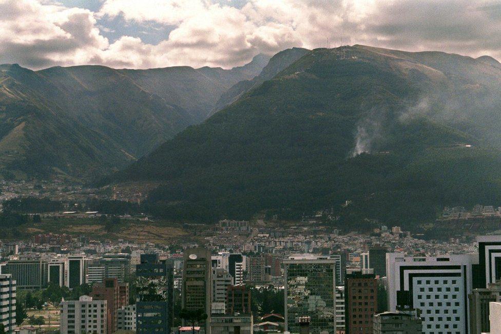 Quito skyline in Ecuador