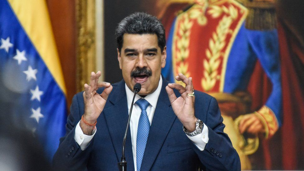 President of Venezuela Nicolas Maduro speaks during a press conference at Miraflores Palace on February 14, 2020 in Caracas, Venezuela
