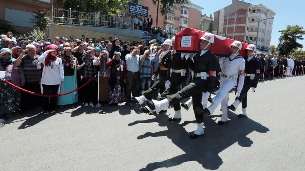 Relatives salute the coffin of a 21-year-old Turkish soldier killed by Kurdish rebels in the eastern city of Van on Saturday, during his funeral in Ankara, Turkey (11 July 2016)