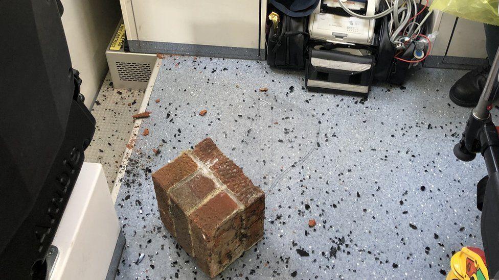 Bricks found inside one of the ambulances