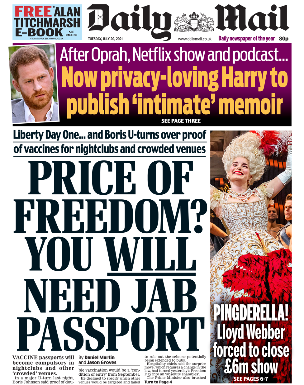 Daily Mail front page 20/07/21