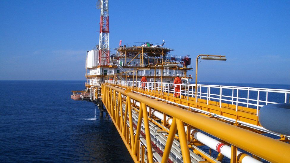 A natural gas rig in Qatari waters