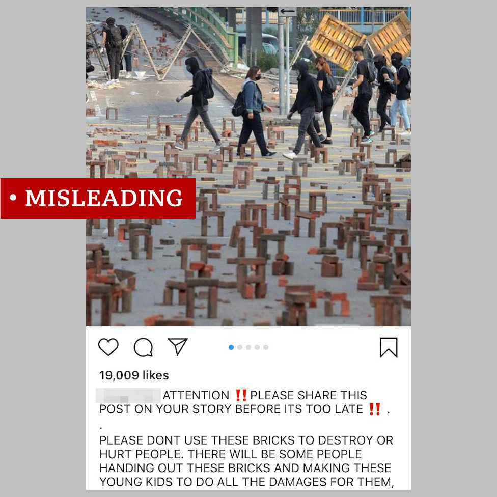 """Instagram posts showing images of bricks in Hong Kong - labelled """"misleading"""""""