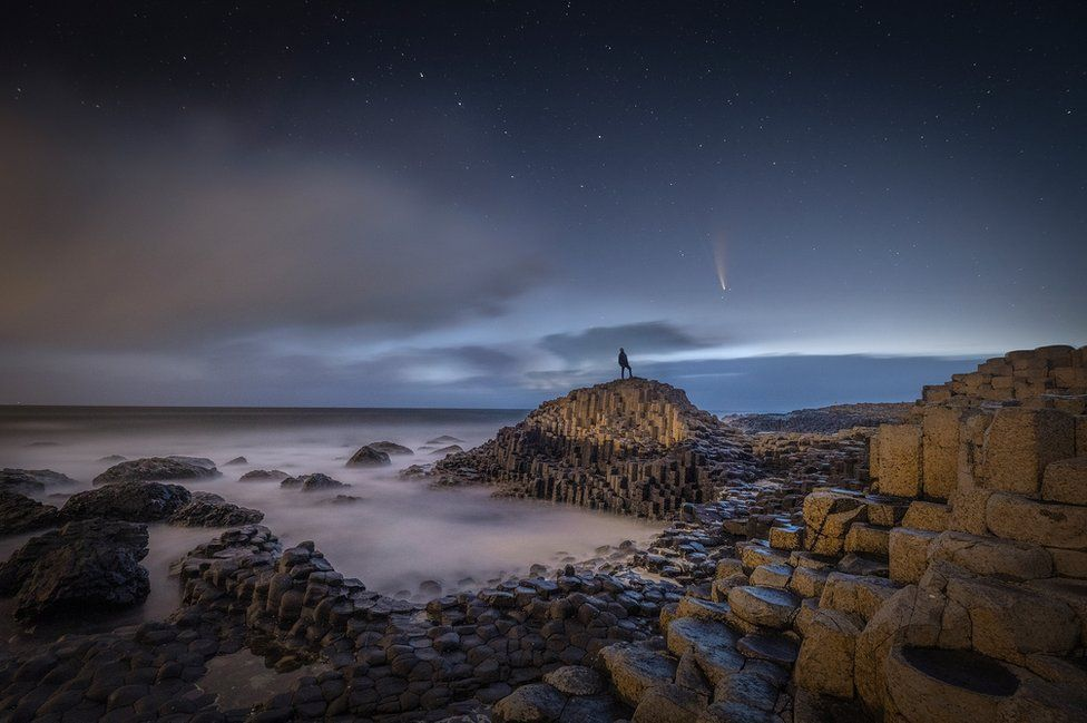 Comet Neowise over the Giant's Causeway in County Antrim