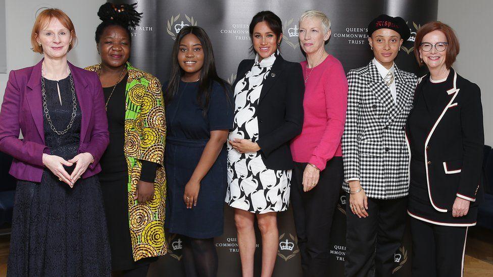 L-R: Journalist Anne McElvoy (chairwoman); Angeline Murimirwa from the Campaign for Real Education; campaigner Chrisann Jarrett; Meghan; singer Annie Lennox; model Adwoa Aboah; former Australian Prime Minister Julia Gillard