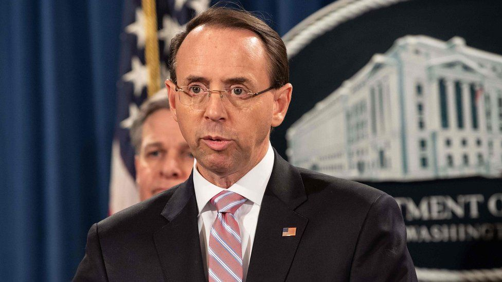US Deputy Attorney General Rod Rosenstein announces the charges