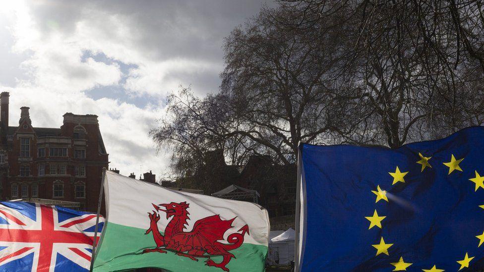 EU flags outside parliament