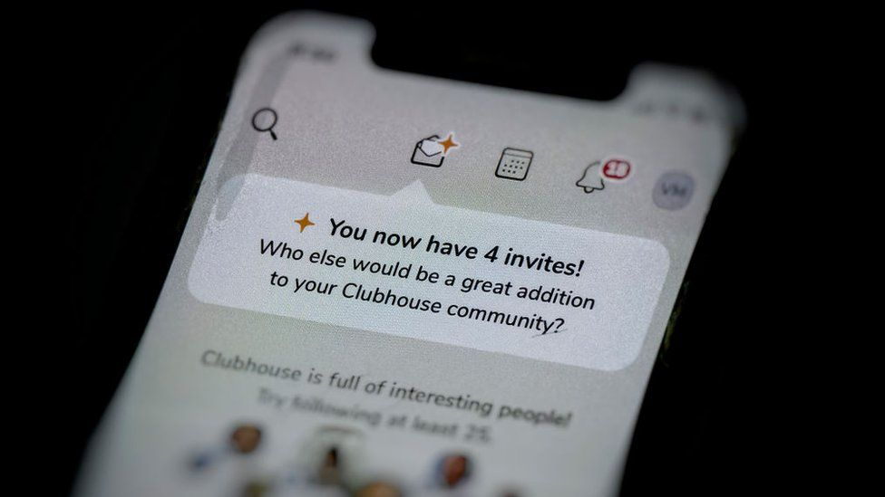 Invites shown on the Clubhouse app