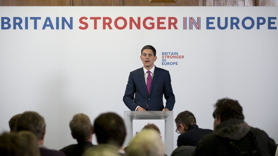 Former foreign secretary David Miliband makes a speech for the Britain Stronger In Europe campaign