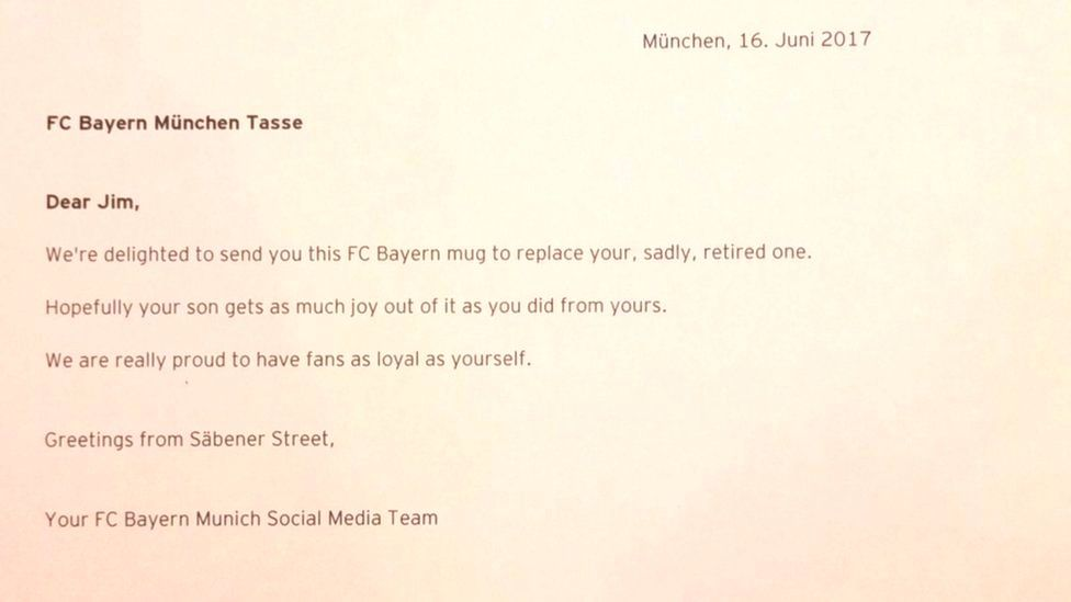 The letter that accompanied the new mug