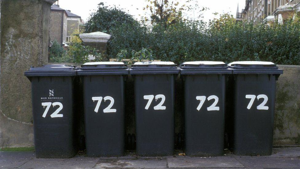 Five wheelie bins from one address