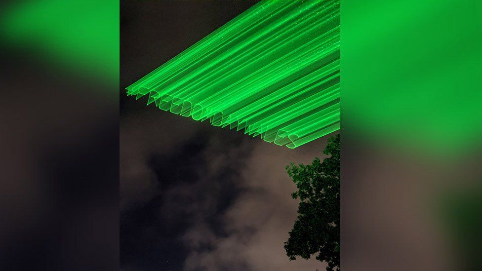 #FreedomDayWales projected on to the sky using lasers