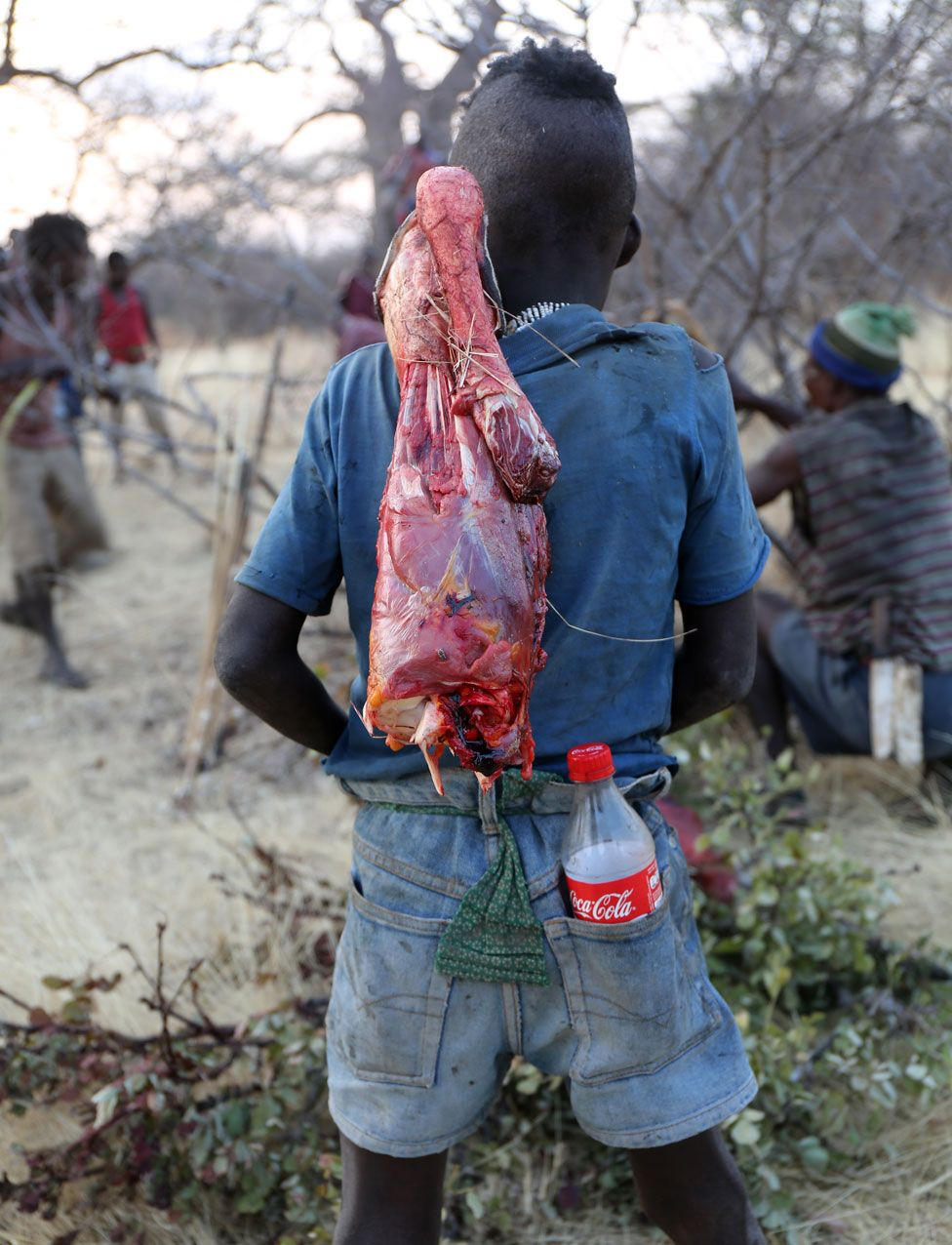 Menino hadza com um pedaço de carne crua e uma coca-cola