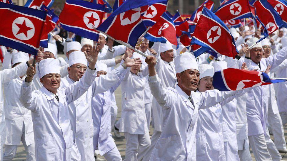 The North Korean flag was on display