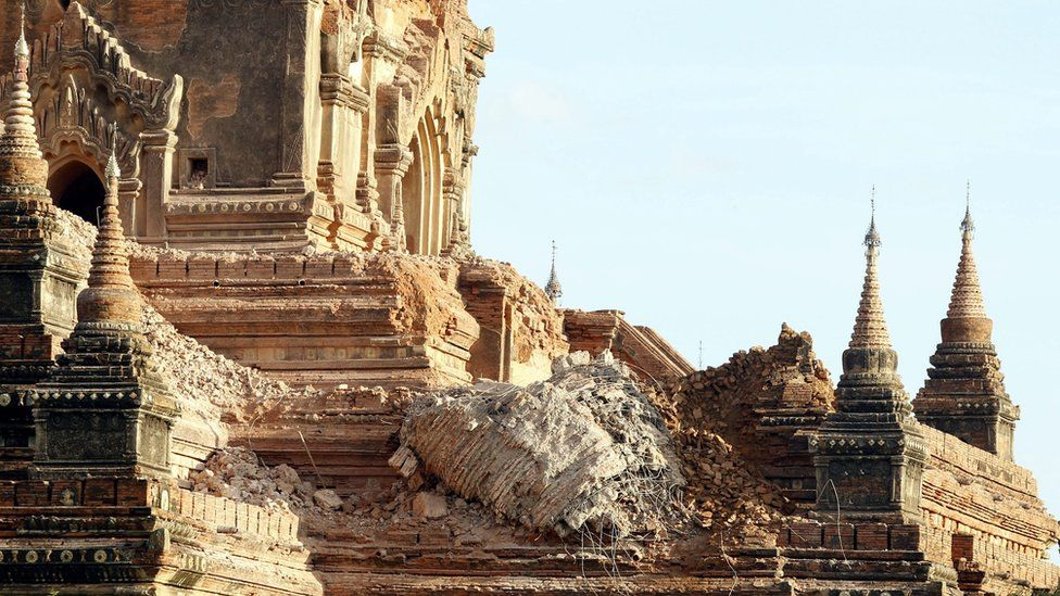 A general view shows the damage at the Sulamani temple in Bagan, southwest of Mandalay, Myanmar, 25 August 2016.