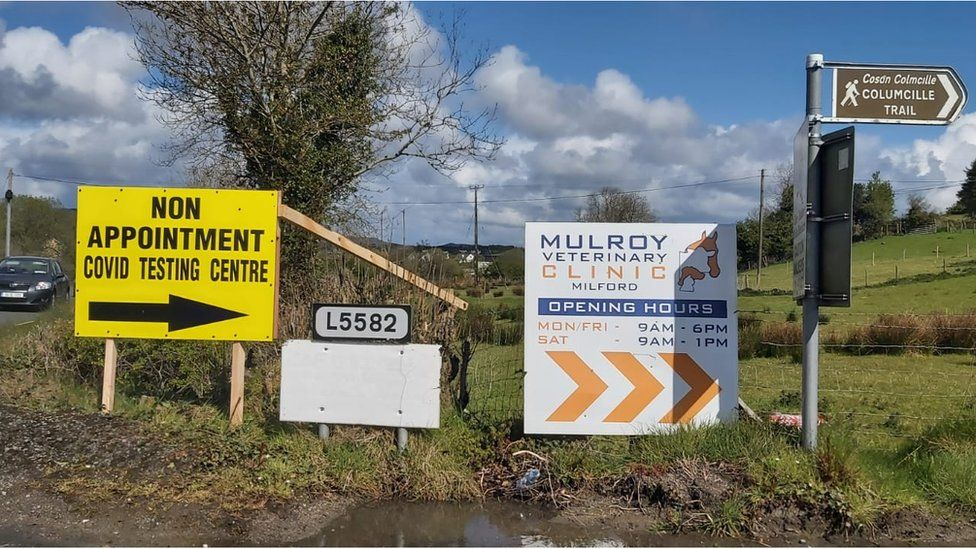Milford testing centre sign