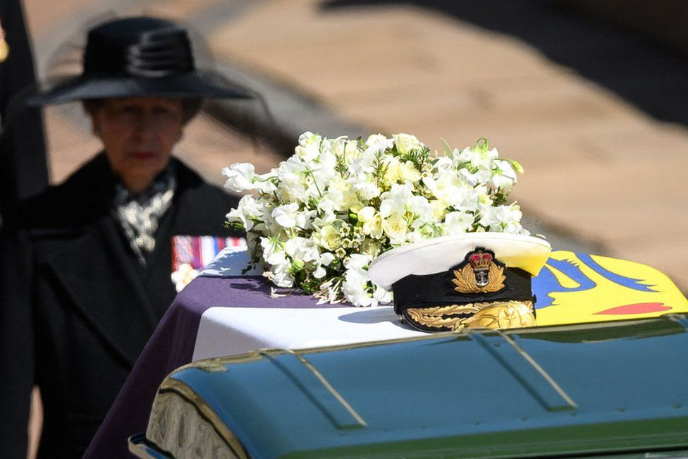 Princess Anne, Princess Royal, follows the coffin during the ceremonial funeral procession of Britain's Prince Philip, Duke of Edinburgh to St George's Chapel in Windsor Castle, London, on April 17, 2021.