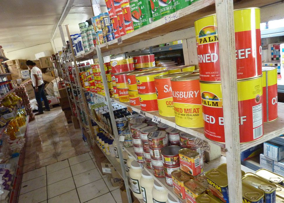 Canned meat in a supermarket, including 2.7kg tins