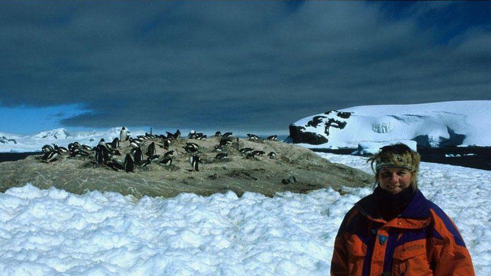 Monika Puskeppeleit with penguins