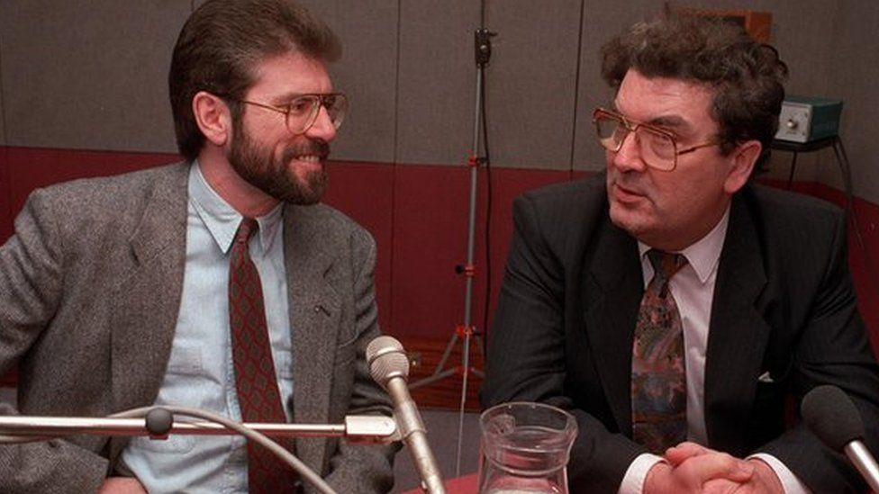 Gerry Adams and John Hume, pictured in a BBC radio studio in 1992