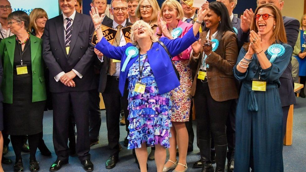 Jubilant Brexit Party supporters