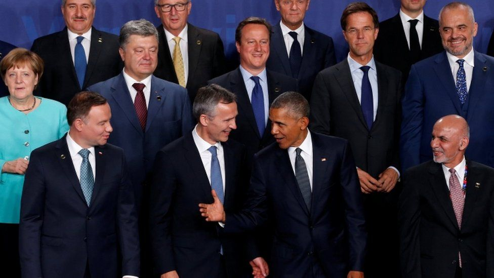 UK Prime Minister David Cameron with other world leaders at the Nato summit