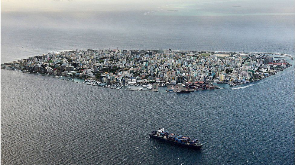 The island of Male which is the capital of the Maldives