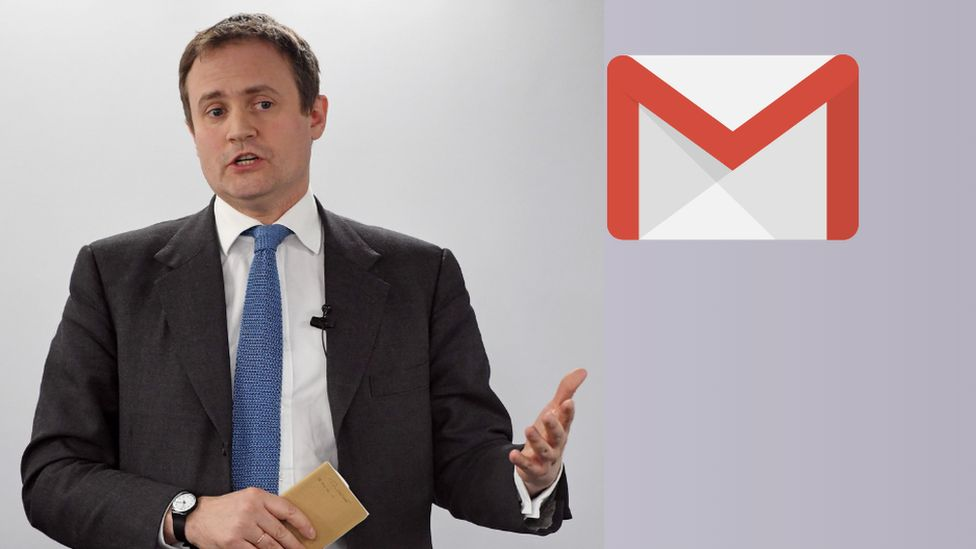 Tom Tugendhat, with a Gmail logo inserted in the image