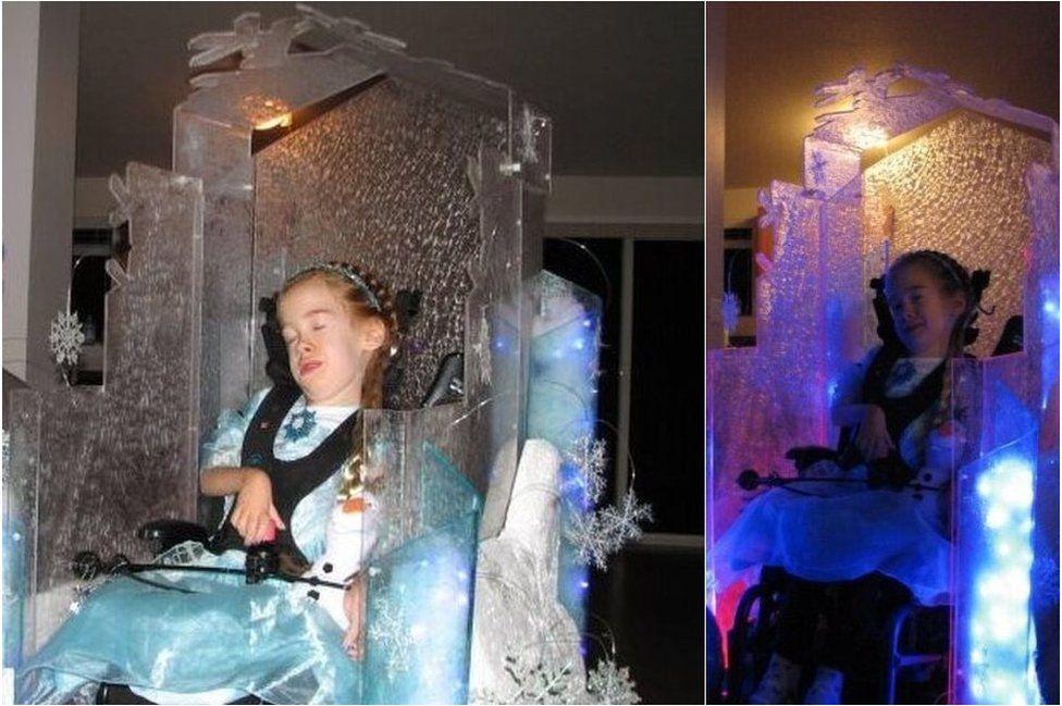 Light-up ice castle