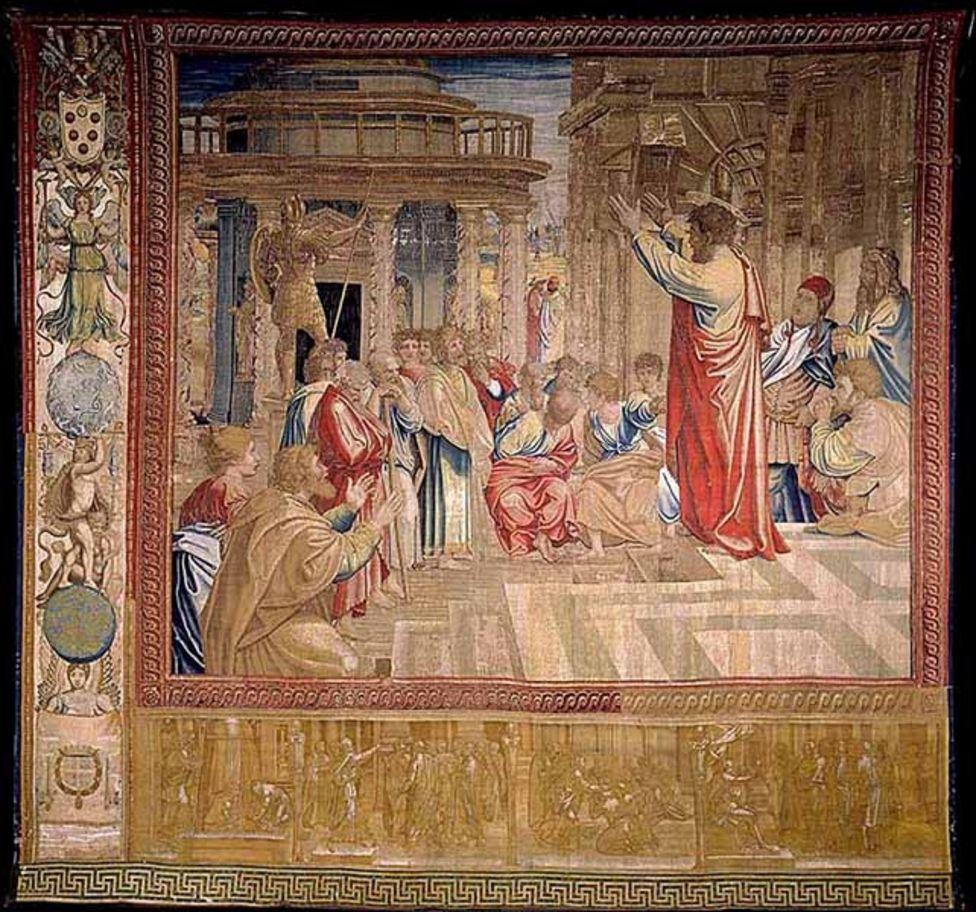 """Tapiz """"Predicación de san Pablo en Atenas"""" de Rafael."""