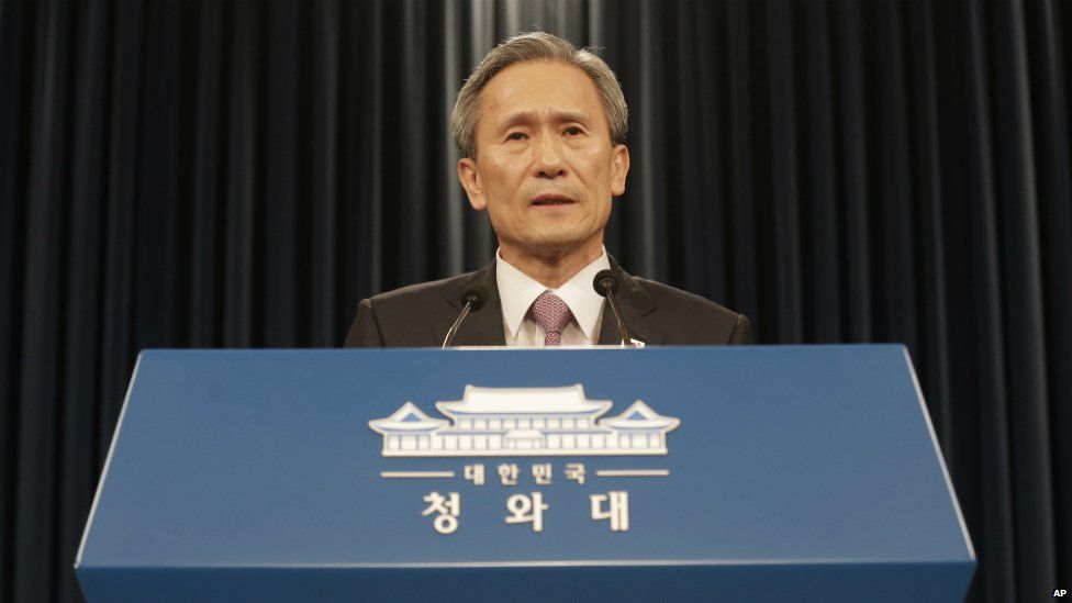 South Korean national security adviser Kim Kwan-jin speaks during a press conference at the presidential house in Seoul - 25 August 2015