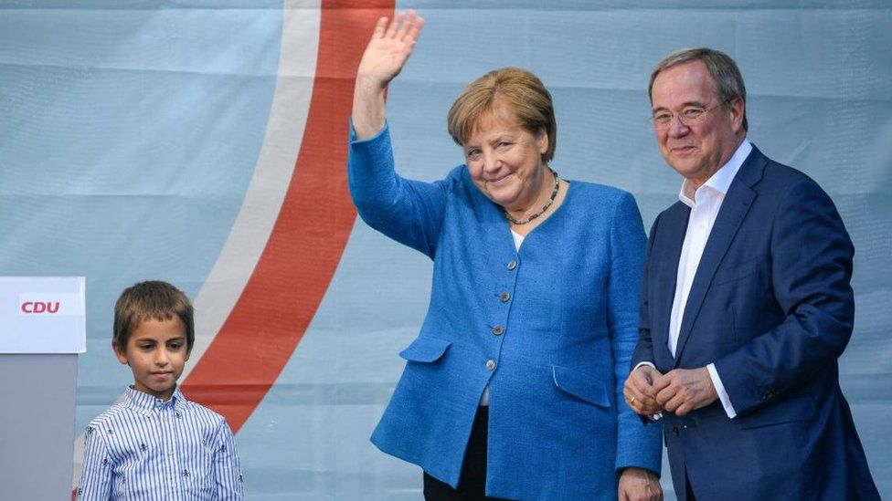 Angela Merkel has appeared at rallies alongside Armin Laschet in the last week of the campaign