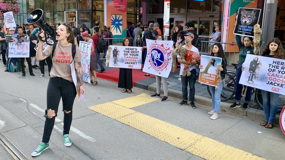 Animal rights protesters at the Toronto Film Festival