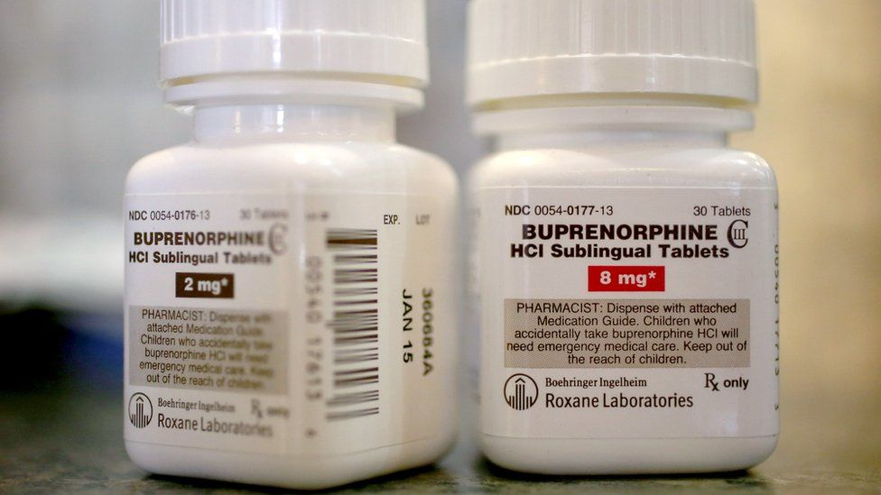 : In this photo illustration, bottles of the generic prescription pain medication Buprenorphine are seen in a pharmacy on February 4, 2014 in Boca Raton, Florida. The narcotic drug is used as an alternative to Methadone to help addicts recovering from heroin use