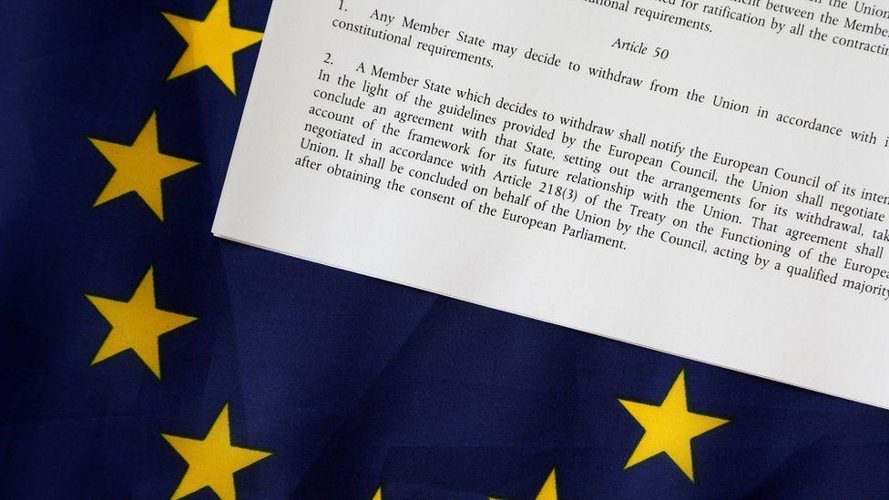 article 50 on an EU flag