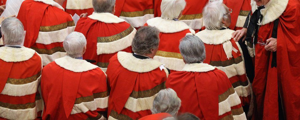 Peers sitting in the House of Lords