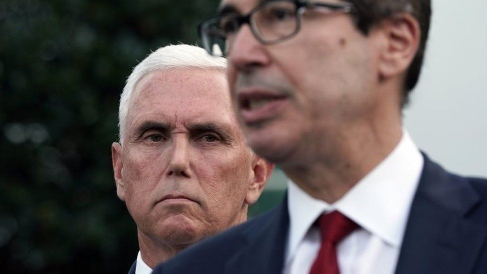 Mike Pence and Steven Mnuchin speaks to media outside White House