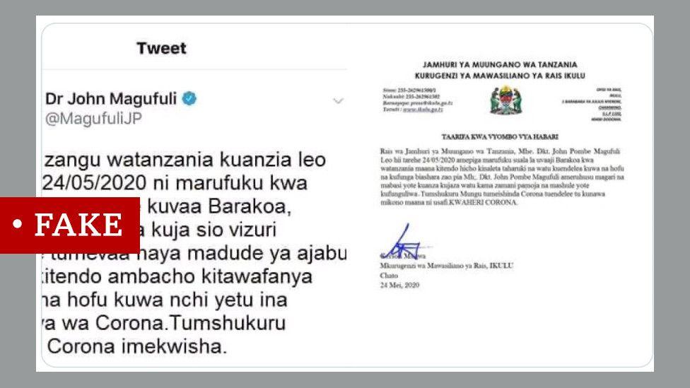 Screen grab of tweet about Tanzania president