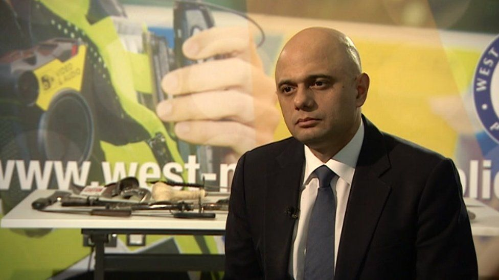 MP Sajid Javid in Birmingham earlier